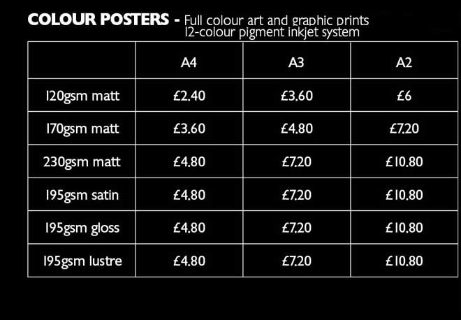 colour poster prices 1